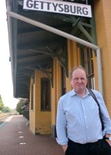 James at Gettysburg train station, the point of arrival and departure for President Lincoln delivering the Gettysburg Address