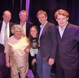 With Great Pleasure recording, l-r John Lloyd, Miriam Margolyes, Howard Goodall, Caitlin Lloyd, Hugh Laurie, Julian Rhind-Tutt
