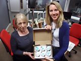 Kerris Harrop with Laura and her alcoholic cup cakes