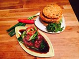Tropical Fruit Cake with Coconut Icing and Teriyaki Beef with Crispy Noodle Cake