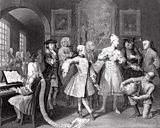 Engraving by William Hogarth: The Rakes Progress - Dancing Master