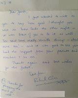 Richard's letter to James Ward