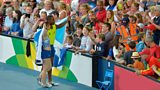 Libby Clegg and Mikail Huggins celebrate winning Gold