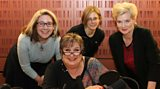 Jenni with Viv Groskop, Michelle Harris, and Sarah Childs in the studio