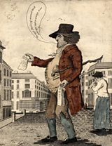 An image of a nineteenth century broadside ballad seller in Manchester
