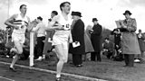 Chris Chataway acts as pace man for Roger Bannister on the way to a new mile record of under four minutes in 1954