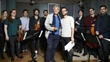 Sir Ian McKellen and Carl Prekopp with the musicians from Words and Music