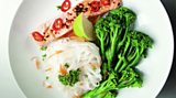 Chilli poached salmon with soy-lime noodles and broccoli