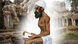Illustration of Ibn Battuta sitting on floor reading praying