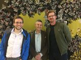 Peter Williams with Mathew Parris and Luke Dormehl after recording Great Lives.