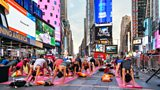 I Stock 678685222 yoga in time square