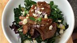 Pan fried lamb cutlets and kale salad by Flora Shedden