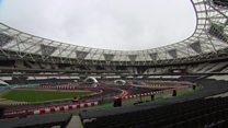 Stadium transformed into racing track