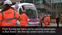 The first trams in the city centre in 60 years