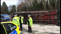 Lorry carrying turkey overturns