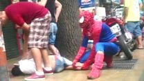 Spiderman 'helps stop would-be robber'