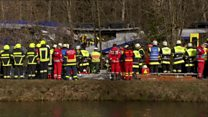 Rescue teams at train crash site