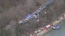 Aerials show Germany train crash site