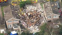 Aerial video shows house blast devastation