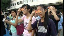 アジア各地で皆既日食 人々が歓声