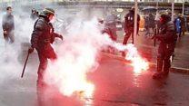 Smoke and flares at Paris demonstration