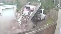 Fly-tipper dumps tonnes of waste in road