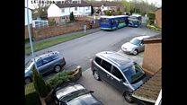 CCTV captures runaway bus crash