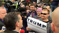 Cruz confronts Trump protester
