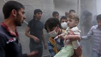 Footage shows Aleppo under bombardment