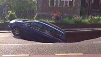Car swallowed by South London sinkhole