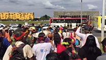 Guarani-kaiowás protestam no ministério da Justiça contra revogação de demarcações
