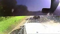 Dashcam shows lorry hitting cars