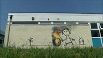Banksy paints Bridge Farm Primary Bristol wall as 'present'