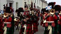 Royal Highland Fusiliers march through Ayr