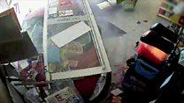 CCTV of car crashing into shop
