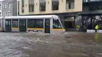 Dublin tram traverses flood
