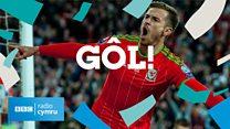 Gôl Aaron Ramsey - Cymru 1 Rwsia 0