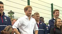 Prince Harry plays rugby