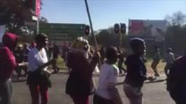 Protesters singing in South Africa