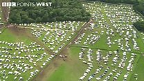 Helicopter shots of Glastonbury Festival site