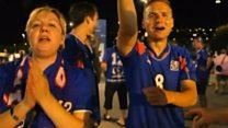 Исландские болельщики празднуют победу