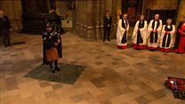 Irish Guard plays Flowers of the Forest at Westminster commemoration