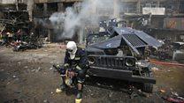 Devastadoras imágenes del incendio tras el sangriento ataque de Estado Islámico en Bagdad