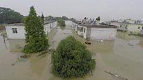 Масштабы наводнения в Китае с высоты беспилотника