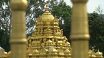 Melting gold from the world's richest temple