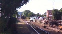 Steam train near miss