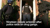 Nineteen arrested after drugs raid