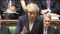 May mocks Corbyn at first PMQs