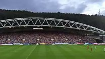 A drone stopped play last night during Huddersfield Town match against Liverpool