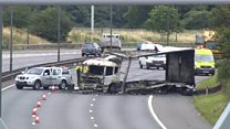 Lorry destroyed and lanes shut in M6 fire